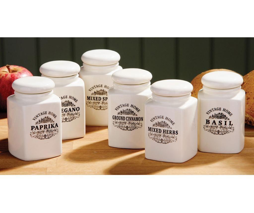 Set 6 recipiente cu capac pentru condimente Vintage Home Cream