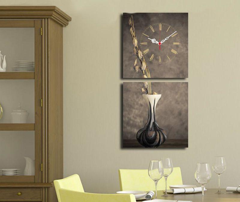 Set 2 tablouri cu ceas Vase 28x28 cm