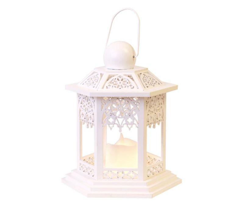 Felinar cu lumanare LED White Lace