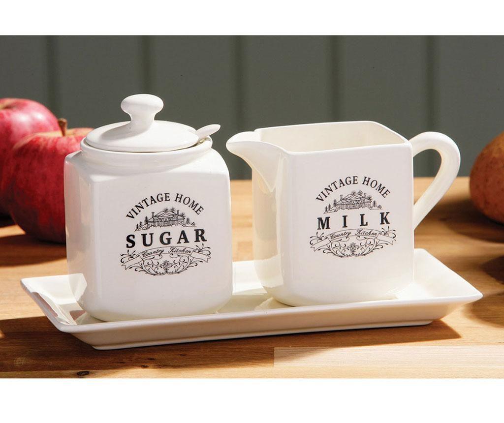 Set zaharnita, latiera si suport Vintage Home Cream
