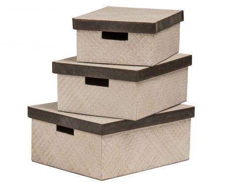 Комплект 3 кутии с капак Chandler Beige Natural