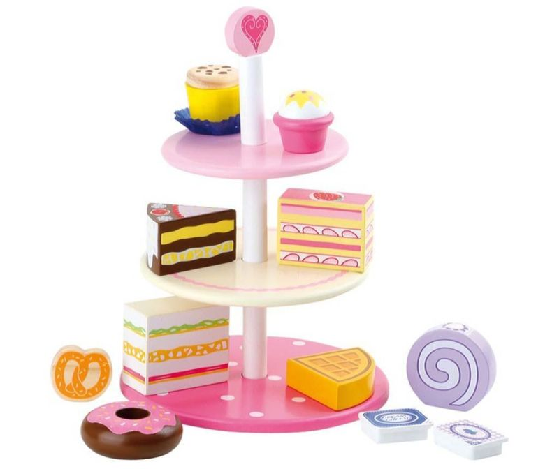 Set platou cu 3 niveluri de jucarie si accesorii Delicacies