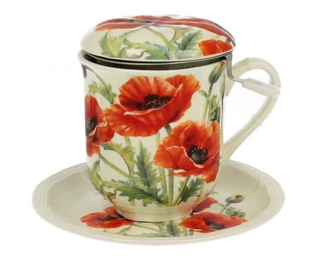 Zestaw kubek z pokrywką, zaparzaczem i talerzykiem Beautiful Poppies