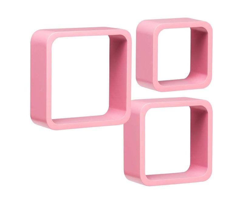 Set 3 rafturi de perete Cube Rounded Pink