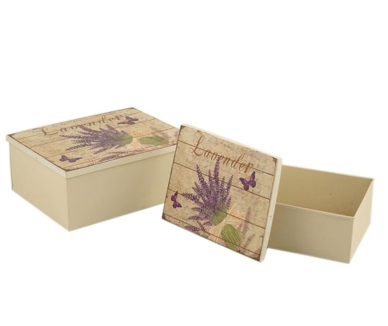 Sada 2 krabic s víkem Lavender Bouquet Rectangle