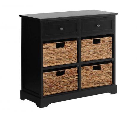 Шкафче с 4 коша и 2 чекмеджета Vermont  Wide Black
