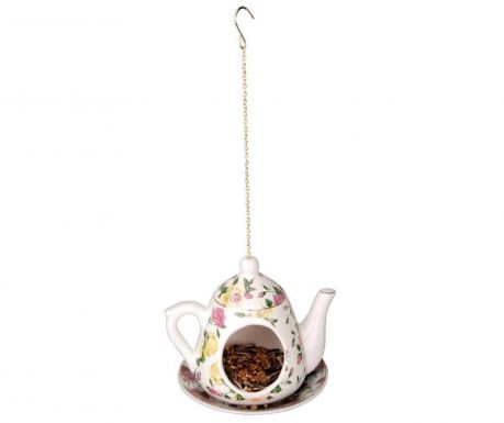 Hranitoare pentru pasari Teapot Yellow Pink Roses