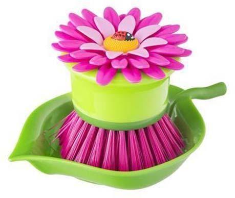 Βούρτσα για τα πιάτα με βάση Flower Power Palm Violet