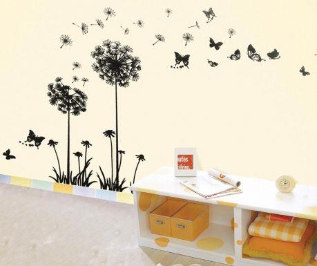 Стикер Dandelion Butterflies Black