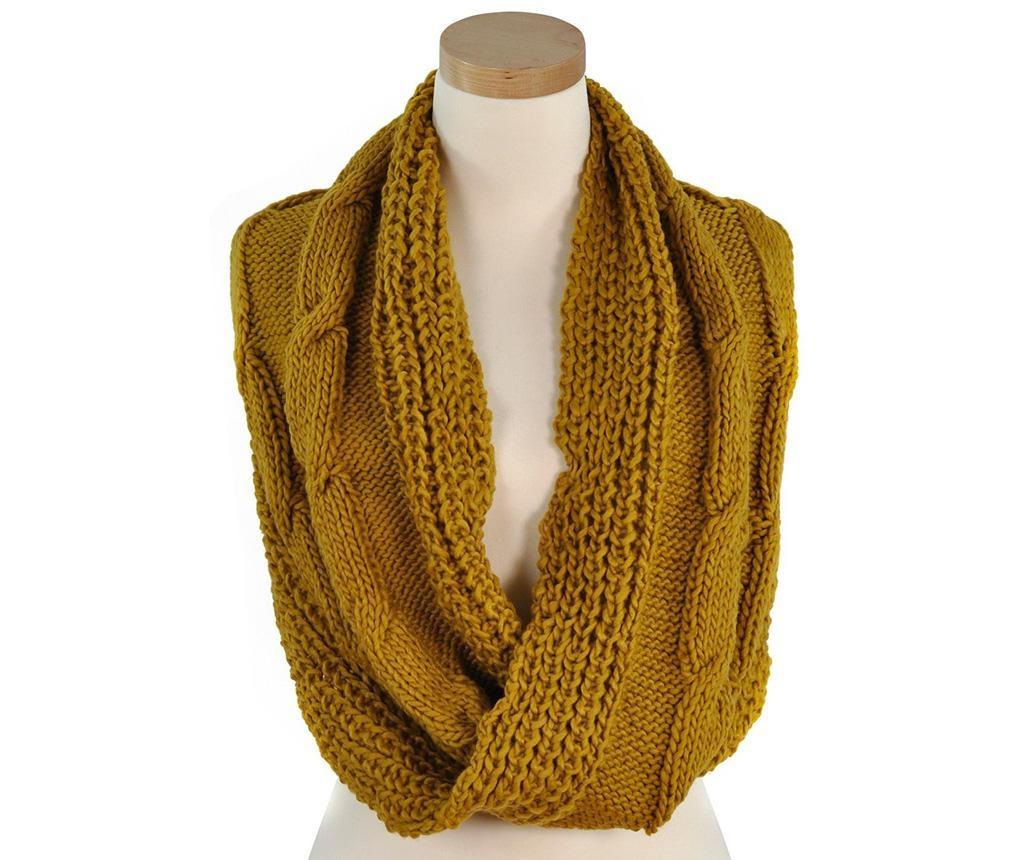 Ženski cevast zimski šal Viviane Mustard 40x100 cm