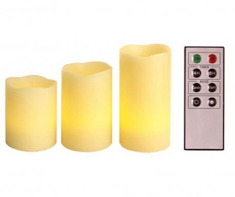 Комплект 3 свещи с LED Starlight