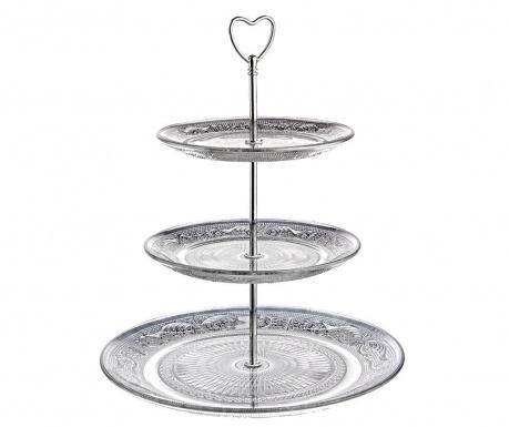 Jolie Heart Silver 3 szintes Süteménykínáló tál