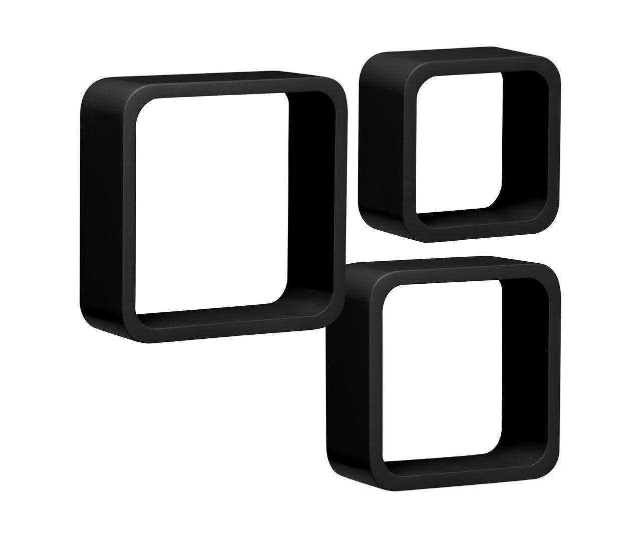 Set 3 stenskih polic Black Cube