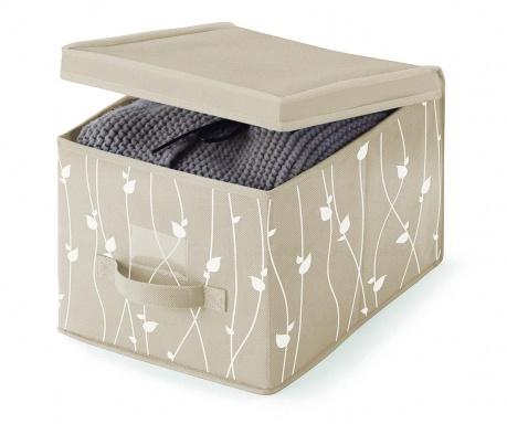 Κουτί με καπάκι για αποθήκευση Beige Leaves S