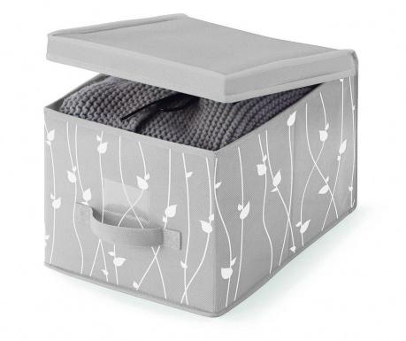 Κουτί με καπάκι για αποθήκευση Leaves Grey S