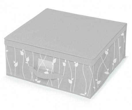 Κουτί με καπάκι για αποθήκευση Leaves Grey M