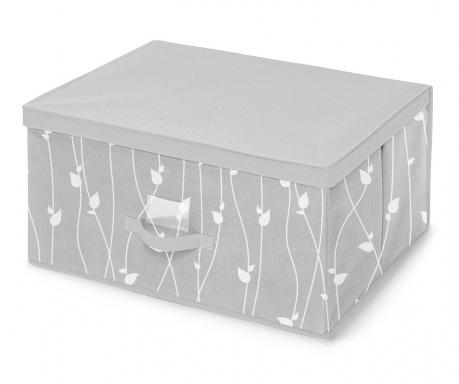 Κουτί με καπάκι για αποθήκευση Leaves Grey L