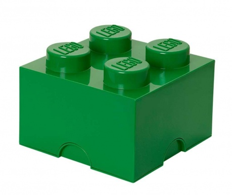 Lego Square Four Dark Green Doboz fedővel
