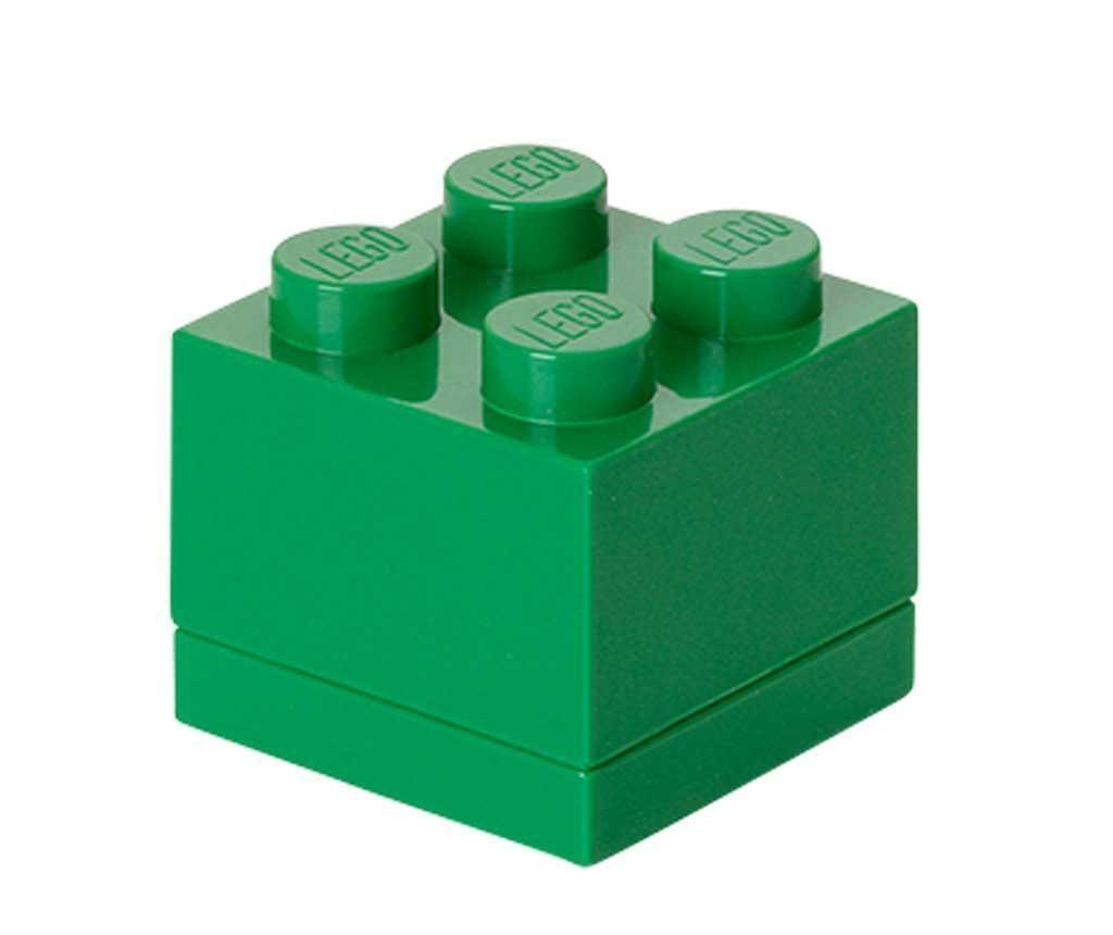 Kutija s poklopcem Lego Mini Square Dark Green