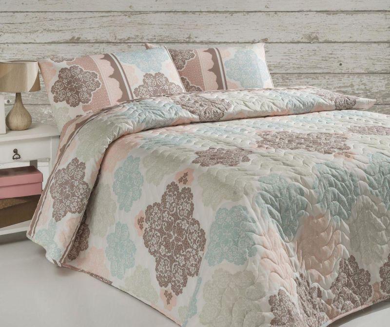 Set s prešitim posteljnim pregrinjalom Single Andalucia Turquoise