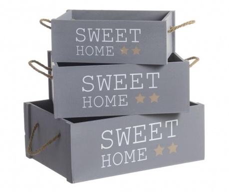 Sada 3 krabíc Sweet Home Grey