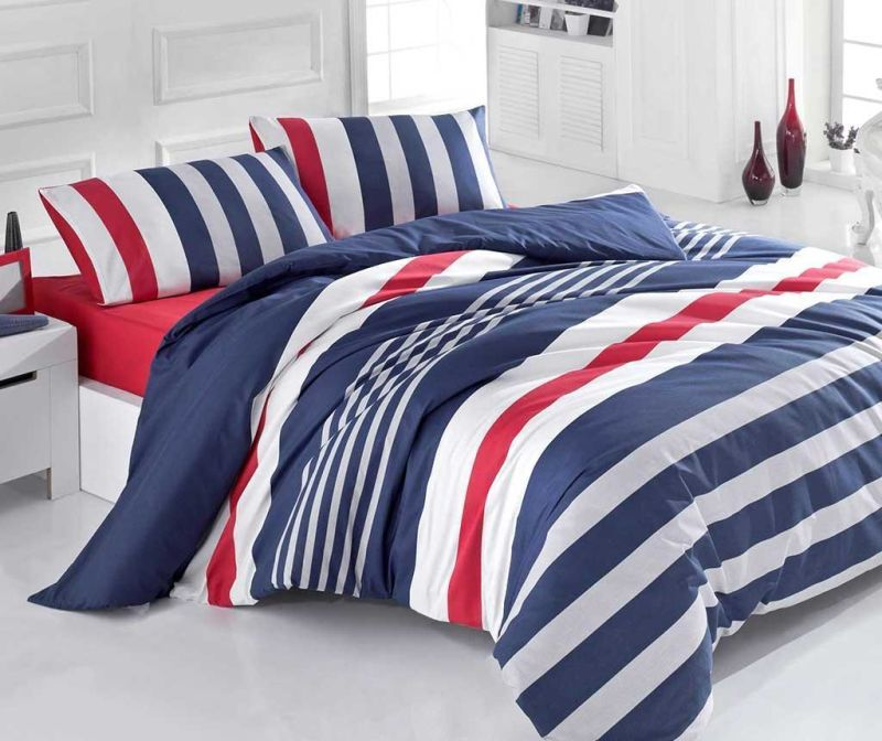 Lenjerie de pat King Ranforce Stripe Dark Blue Red 200x220