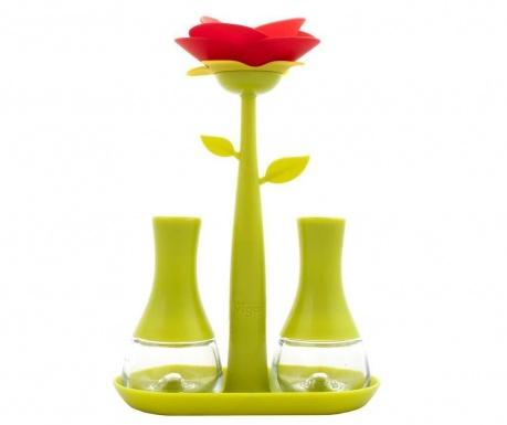 Set - solnica in poprnica z držalom Rose Green
