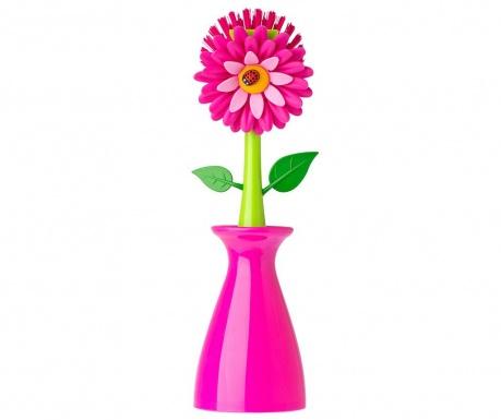 Βούρτσα για τα πιάτα με βάση Flower Power Pink