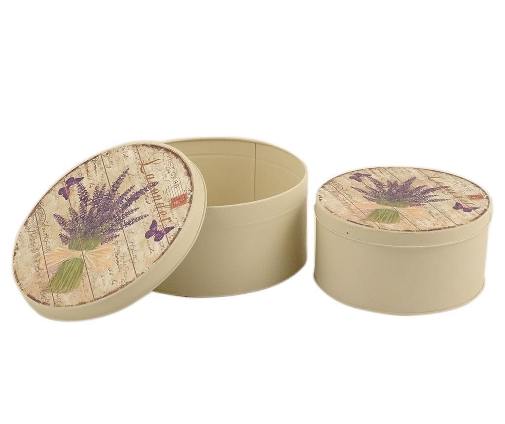 Sada 2 krabic s víkem Lavender Bouquet Round