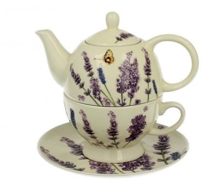 Zestaw czajniczek z filiżanką i talerzykiem Lavender Time