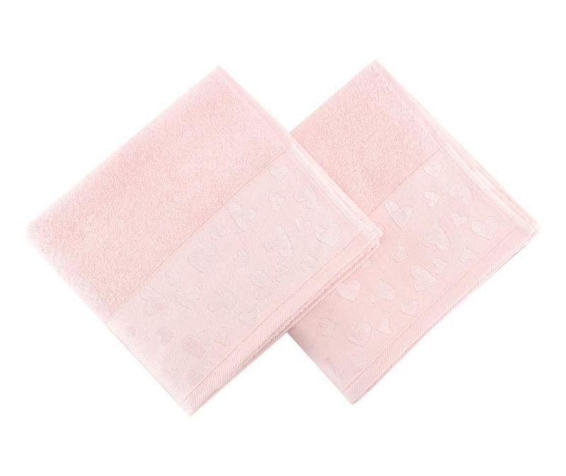 Set 2 prosoape de baie Kalp Light Pink 50x90 cm