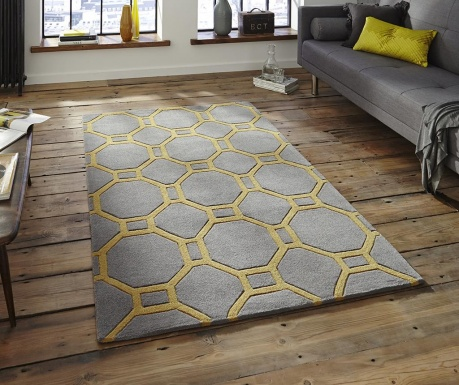 Koberec Hong Kong Hexagon Grey Yellow