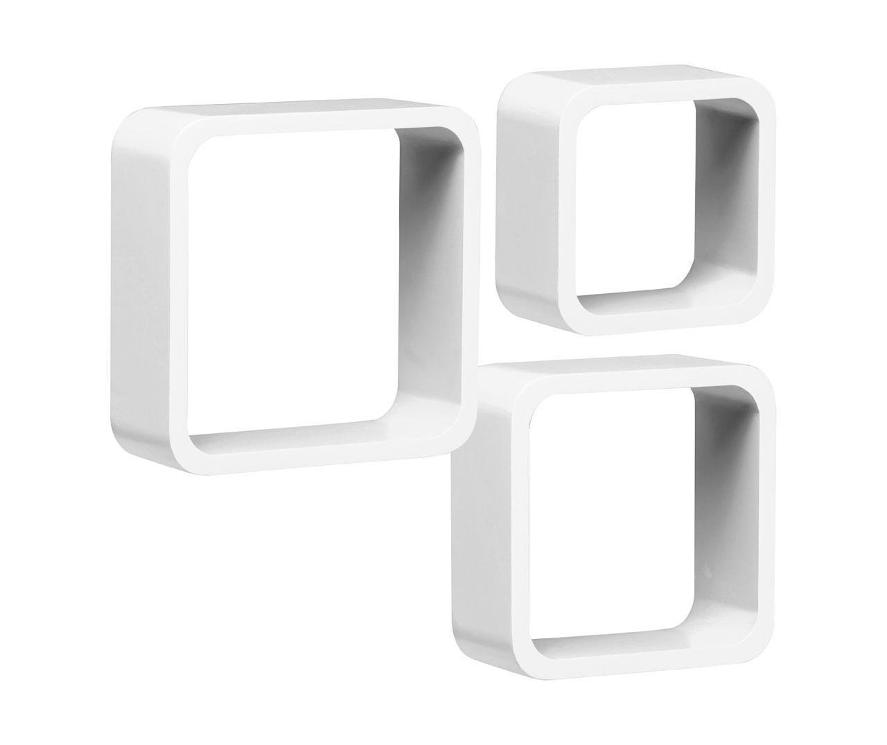 Set 3 rafturi de perete Cube Rounded White