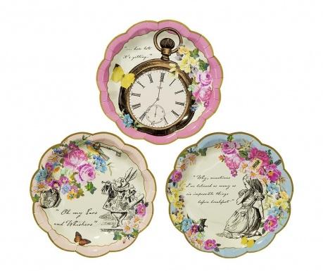 Set 12 plitkih tanjura za jednokratno korištenje Truly Alice Whimsical