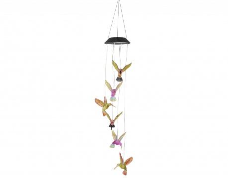 Соларна лампа  с вятърен звънец Hummingbirds