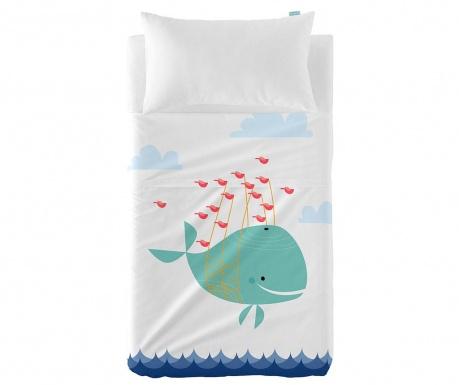 Set plahta za krevetić i jastučnica Satin Whale Ride Uni