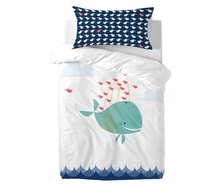 Posteljina za krevetić Satin Whale Ride Extra Wide