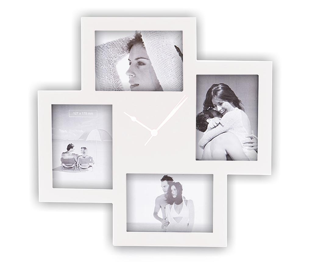 Zidni sat s  4 okvira za slike Collage White