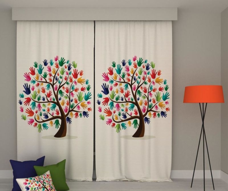 Set 2 zastorov Hands Tree 140x250 cm