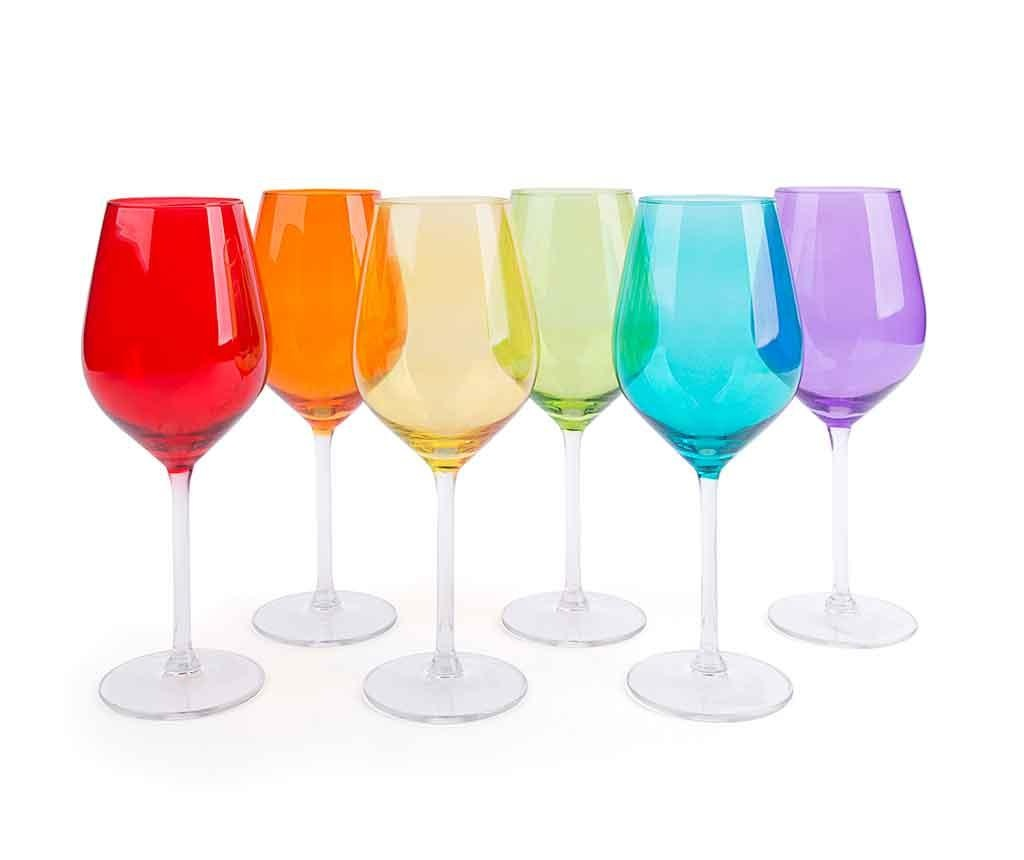 Set 6 kozarcev za vino Scatch Multicolor 500 ml