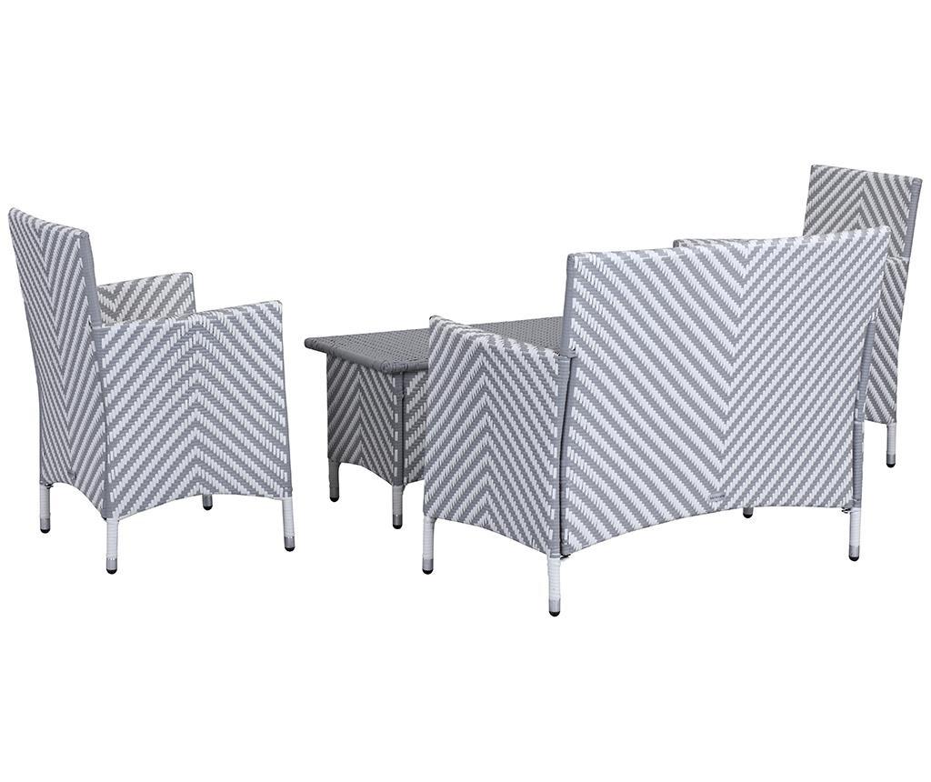 4-dijelni set namještaja za vanjski prostor Venice Stripes Grey White