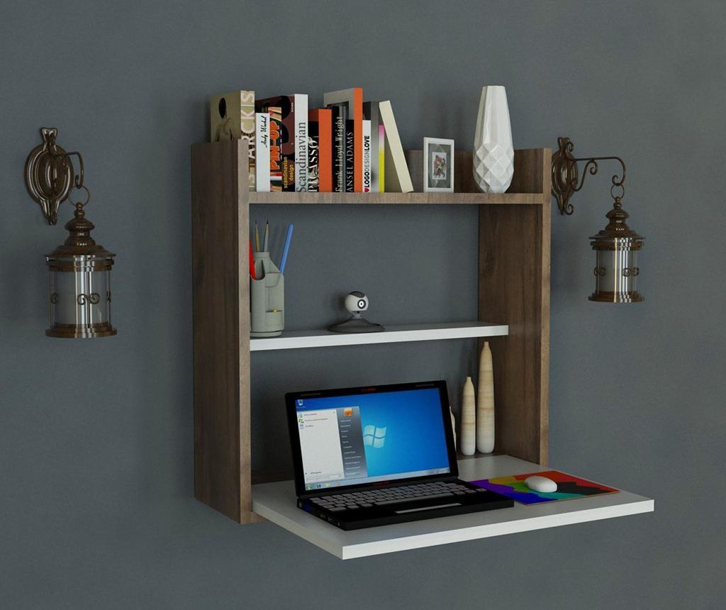 Birou cu raft de perete Laptop