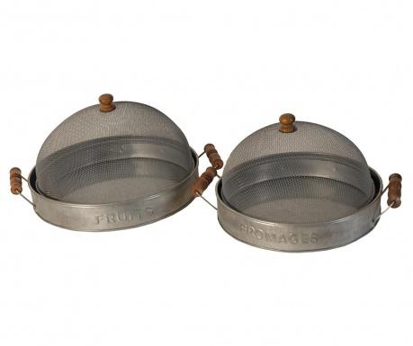Zestaw 2 tac z pokrywkami do serwowania Antique Silver