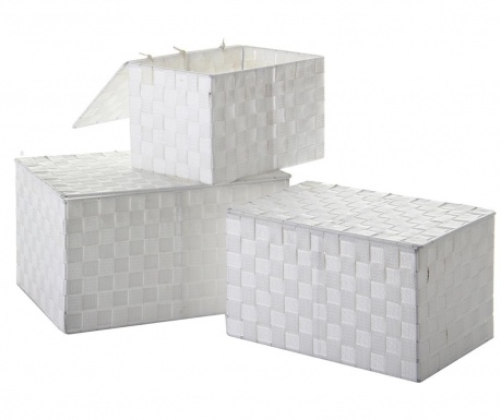 Set 3 cutii cu capac Miriam Glow White