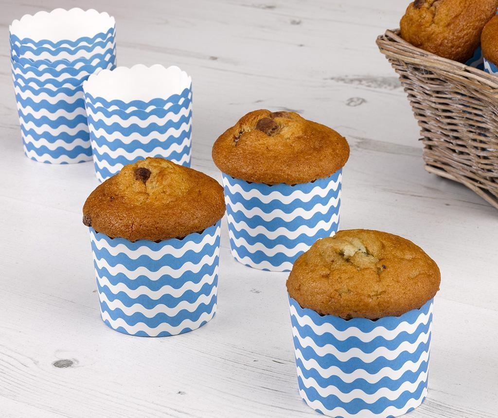 Set 24 papirnatih kalupa za pečenje muffina Waves Blue