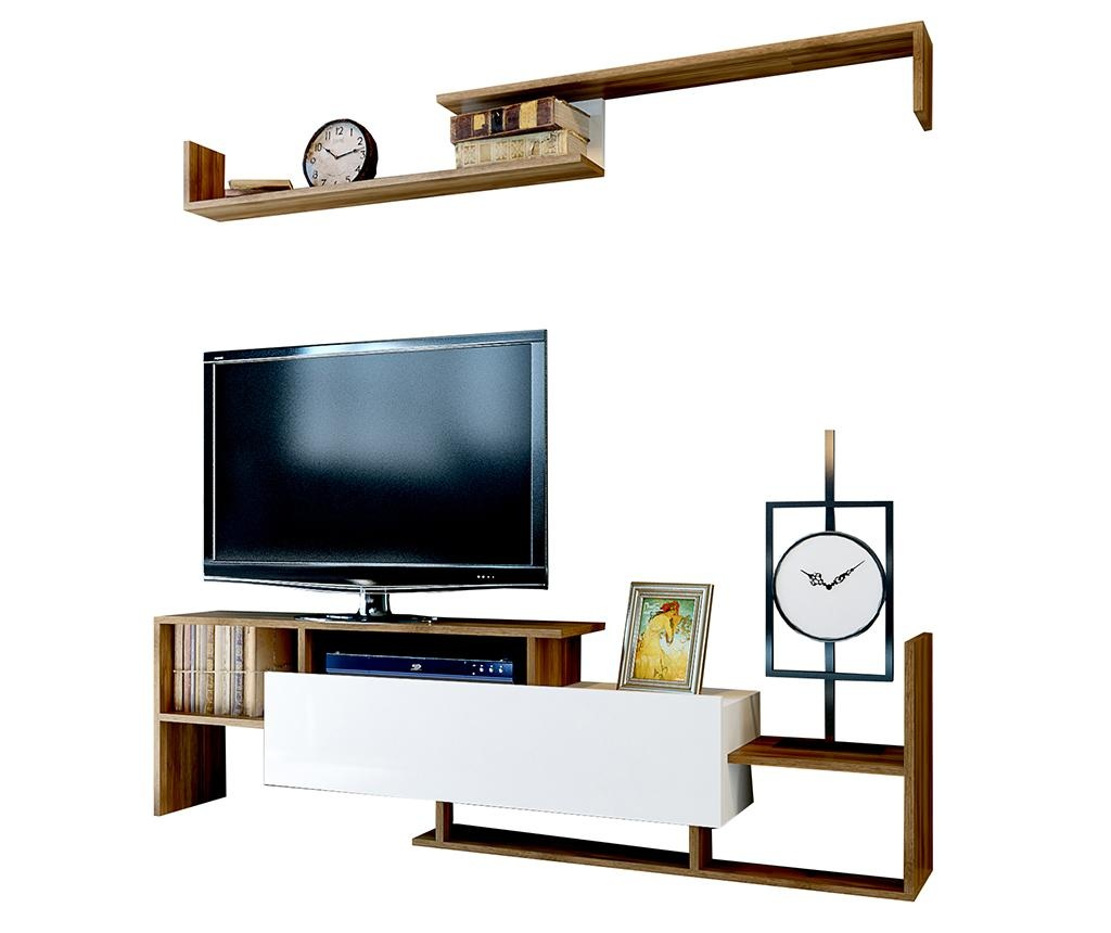 Set TV komoda i zidna polica Dream Walnut