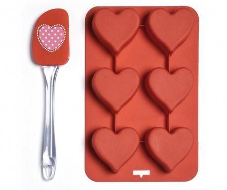 Sada lopatka a pekáč so 6 formami Heart
