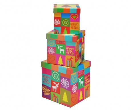 Σετ 3 κουτιά με καπάκι για αποθήκευση Colors and Reindeer