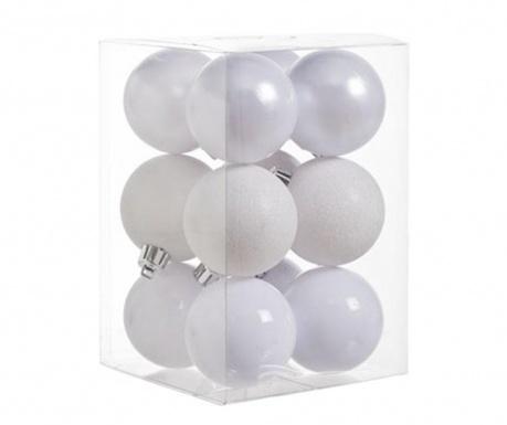 Set 12 globuri decorative Pearl White Glitter