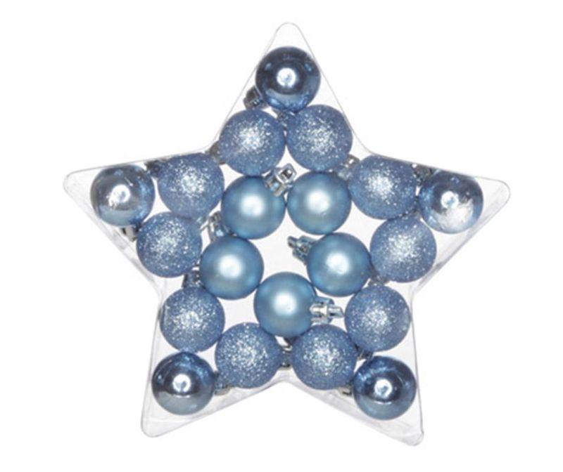 Set 20 globuri decorative Blue Star S